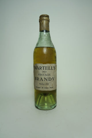 Martell's Vintage Brandy - Distilled 1913 / Bottled 1941 (ABV Not Stated, 35cl)