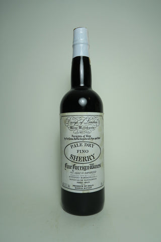 Antonio Barbadillo for Davys of London Pale Dry Fino Sherry - 1980s (17%, 70cl)