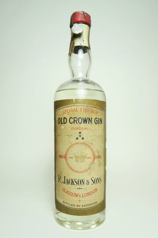 R. Jackson & Sons Old Crown Gin Special Liqueur Cordial - 1933-44 (ABV Not Stated, 75cl)