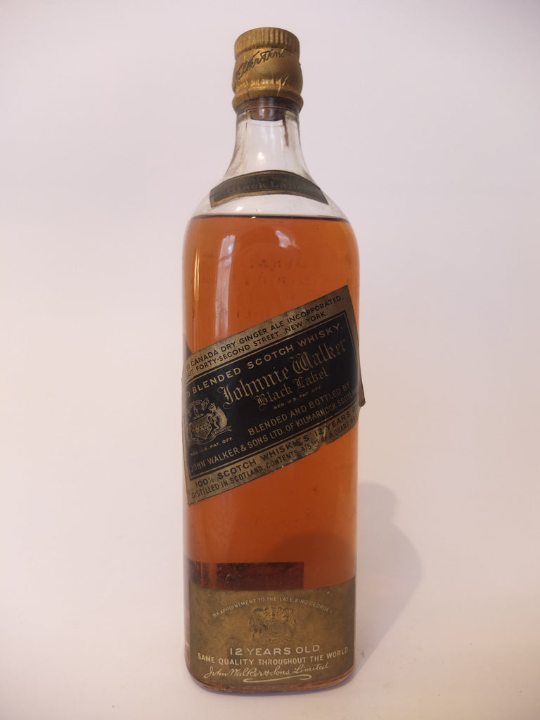 Johnnie Walker Black 12YO Blended Scotch Whisky - 1930s (43.4%, 75.7cl)