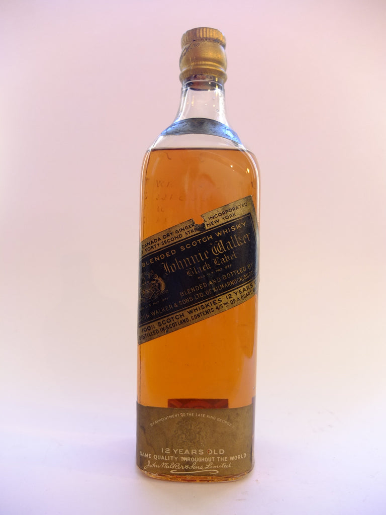 Johnnie Walker Black Label 12 Year Old Blended Scotch Whisky - 1930s (43%, 75.7cl)