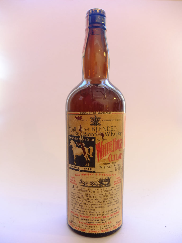 White Horse 8 Year Old Blended Scotch Whiskey - 1936-1952 (43.4%, 75.7)