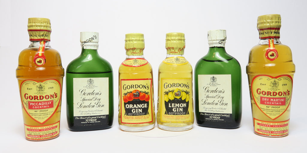 Gordon's Miniature Set inc. Orange Gin, Lemon Gin, 2 x Special Dry London Gin, Dry Martini & Piccadilly Shaker Cocktails with Cocktail Book - 1950s (26-40%, c. 6cl each)