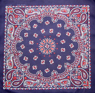 Tricolour Red,White on Navy Blue Paisley