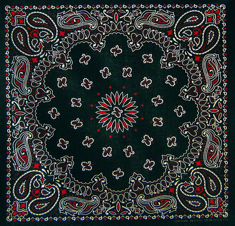 Tri-Colour (White and Red on Black) Paisley Bandana