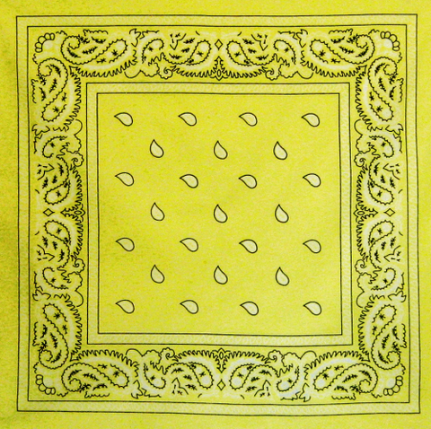 Large Lemon Yellow Paisley Bandana