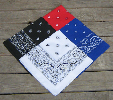 Red, Royal Blue, Black and White Paisley Bandanas Pack