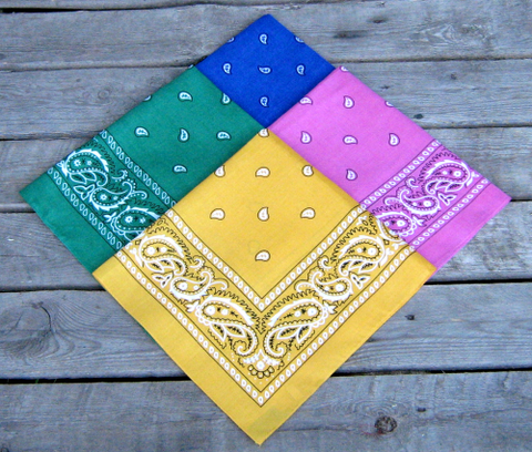 Hot Pink, Golden Yellow, Royal Blue and Leaf Green Paisley Bandanas Pack