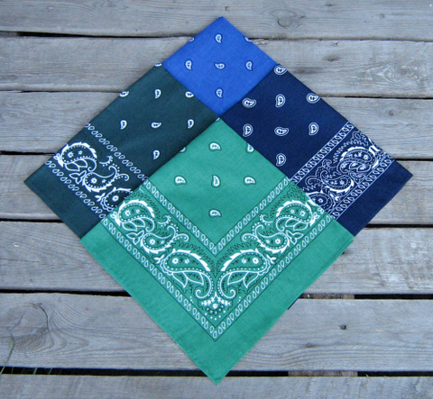 Navy Blue, Royal Blue, Forest Green and Leaf Green Paisley Bandanas Pack