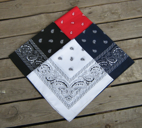 Red, Navy Blue, White and Black Paisley Bandanas Pack