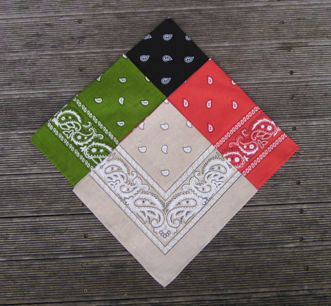 Black, Vintage Red, Khaki and Olive Green Paisley Bandana Pack