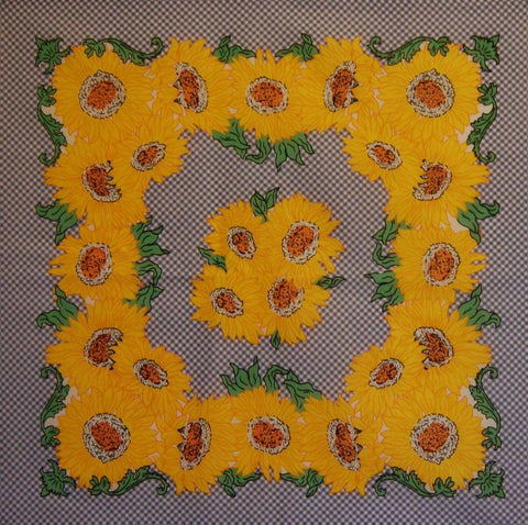Gingham and Sunflowers Bandana