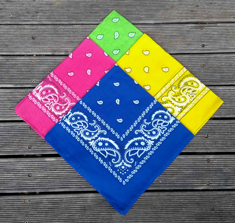 Hot Pink, Sunshine Yellow, Royal Blue, Lime Green Paisley Bandana Pack