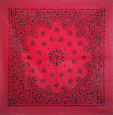Large Black and Pillarbox Red Paisley Bandana