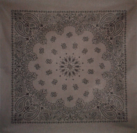 Large Dark Grey Paisley Bandana