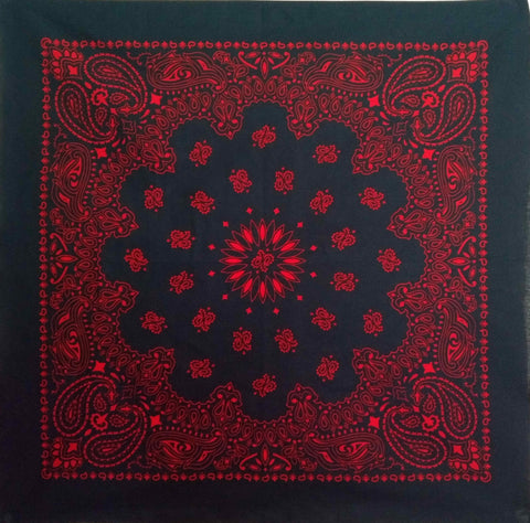 Large Black and Red Paisley Bandana