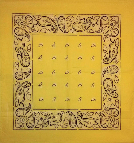 Lemon Yellow Paisley Flowers Bandana