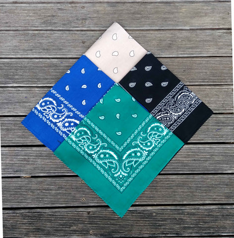 Royal Blue, Sea Green, Black & Khaki Paisley Bandana Pack
