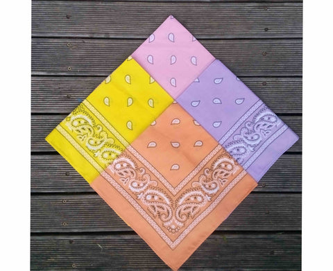 Golden Yellow, Light Pink, Lilac and Peach Paisley Bandanas Pack