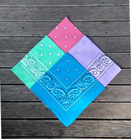Turquoise, Lavender, Salmon Pink and Mint Paisley Bandana Pack