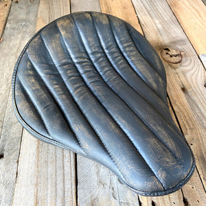 "12x13"" Black Distressed Tuck Roll Seat Chopper Harley Sportster Indian Bobber Bates Style"
