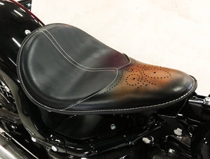11x16 Ant Brown Wingtip Leather Spring Solo Seat Chopper Bobber Harley Softail