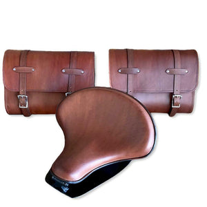 "2015-2021 Indian Scout Spring 15x14"" Tractor Seat Mounting Kit Saddle Bags Brown"