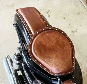 2010-2021 Sportster Harley Spring Seat Conversion Kit Brown Leather P-Pad Rivets