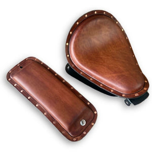 2010-2021 Sportster Harley Spring Brown Leather Seat P-Pad Conversion Kit Rivets