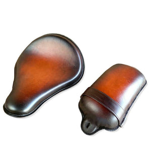 13x15 Brown On Brn Spring Tractor Seat Pad Leather Harley Softail Chopper Bobber