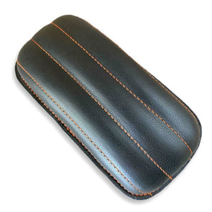 Chopper Harley Sportster Bobber 5x10 Tuck Roll Black Leather Orange P-Pad Seat