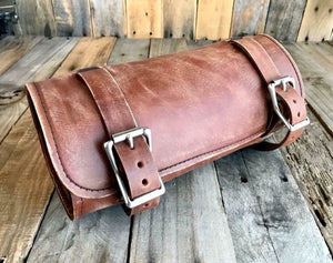 Tool Roll Harley Sportster Softail Chopper Bobber Indian Spring Seat Brown Dist Leather