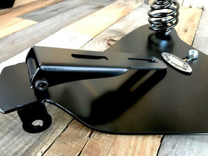 "2010-2020 Harley Sportster Spring Seat 10x13"" Black Leather Logo  Mount Kit pccs - Mother Road Customs"