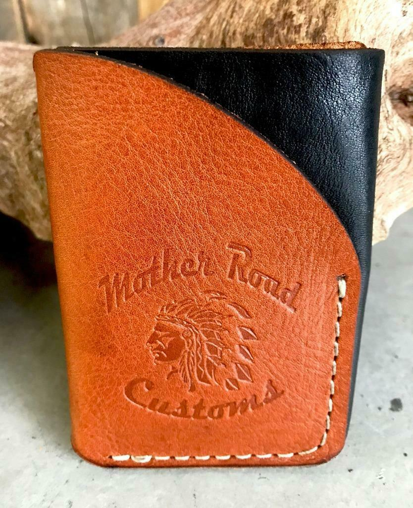 4 Banger Minimalist Men's Women's Black & Tan Sepichi Veg Tan Leather Wallet - Mother Road Customs