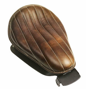 2007-2009 Harley Sportster Spring Solo Seat Chopper Brown Dist Tuck Roll Leather - Mother Road Customs
