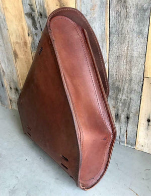 2000-2020 Harley Saddle Bag Chopper Bobber & Hardtail Motorcycle Brown Leather - Mother Road Customs