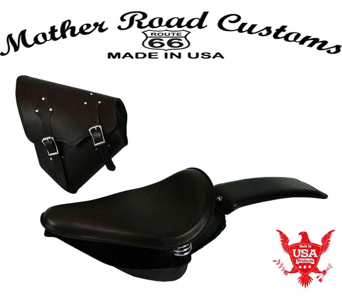 2000-2017 Harley Softail Spring Seat Pad Mounting Kit Saddle Bag Blk Leather cs - Mother Road Customs