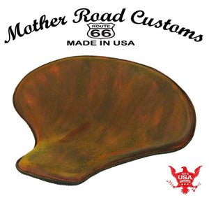 "Spring Solo Tractor Seat Chopper Bobber Harley Sportster 15x14"" Brn Dis Leather - Mother Road Customs"