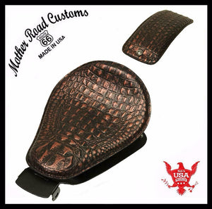2010-2020 Sportster Harley Seat pad Kit Black Copper Alligator Models Leather bc