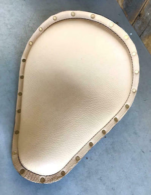 "11x13"" Natural Leather Spring Solo Seat Brass Rivets Harley Sportster Chopper - Mother Road Customs"