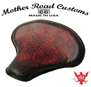 Spring Tractor Seat Chopper Bobber Harley Sportster 15x14 Ant Red Oak Le Leather - Mother Road Customs