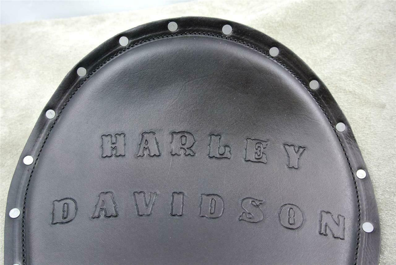 Spring Seat Chopper Harley Davidson Sportster Leather Hand Tooled Rivets 11x14BK - Mother Road Customs
