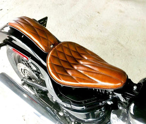 "Spring Solo Seat Softail Harley P-Pad Chopper Scout 11x16"" Tan Diamond Leather"