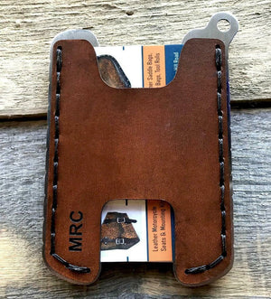 Hawk One Minimalist Men's Women's Gel Tan Veg Tan Leather Stainless Steel Wallet - Mother Road Customs
