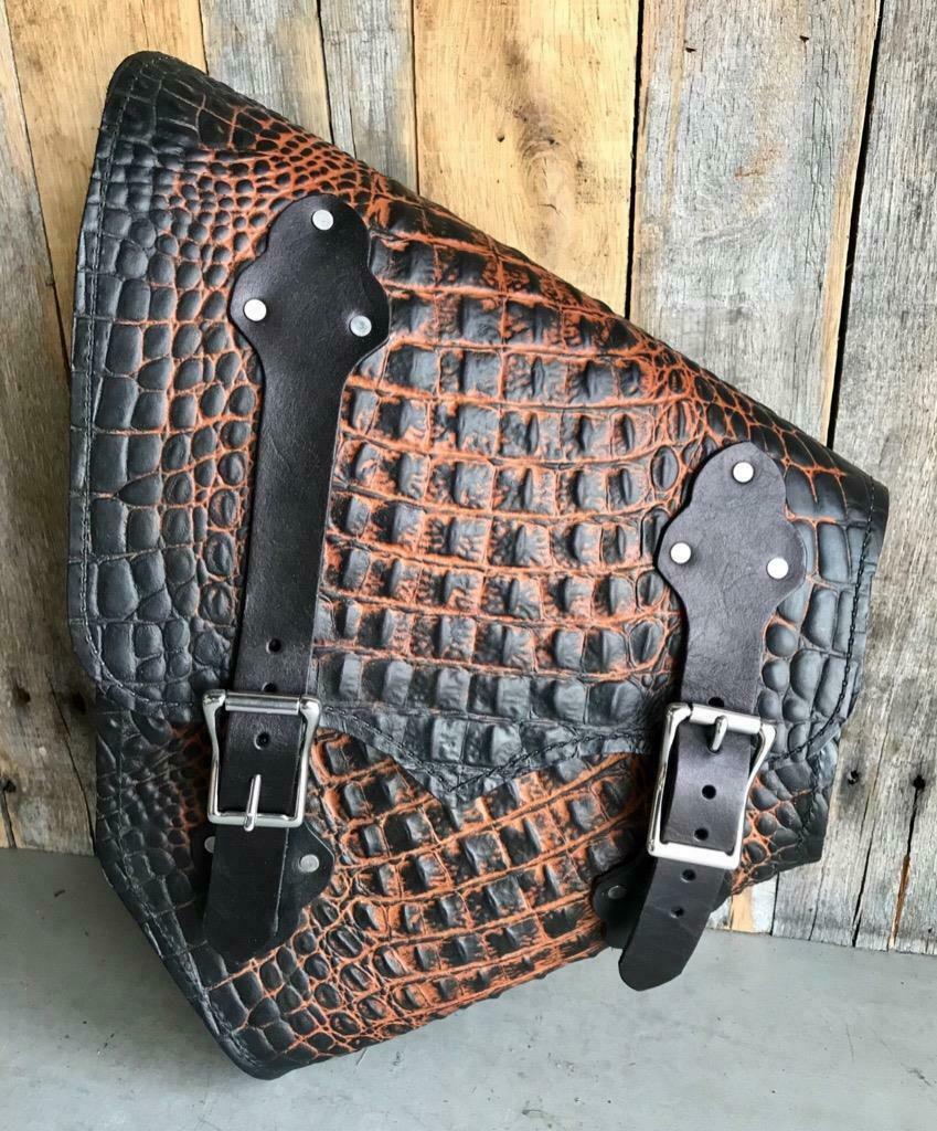 Saddle Bag 2000-2020 Harley Softail & Hardtail Motorcycle Ant Brn Gator Leather - Mother Road Customs