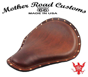 Spring Solo Seat Sportster Harley Chopper  12X13 Brown Leather Copper Rivets