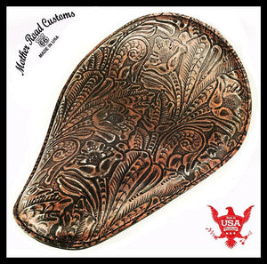 Spring Seat Chopper Bobber Harley Sportster 10x13 Blk Copper Dis Tooled Leather - Mother Road Customs