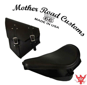2000-2017 Harley Softail Spring Seat Pad  Mounting Kit Saddle Bag Blk Leather bc - Mother Road Customs