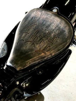 2010-2020 Sportster Harley  On The Frame Seat Black Dist Leather Tooled 48 - Mother Road Customs