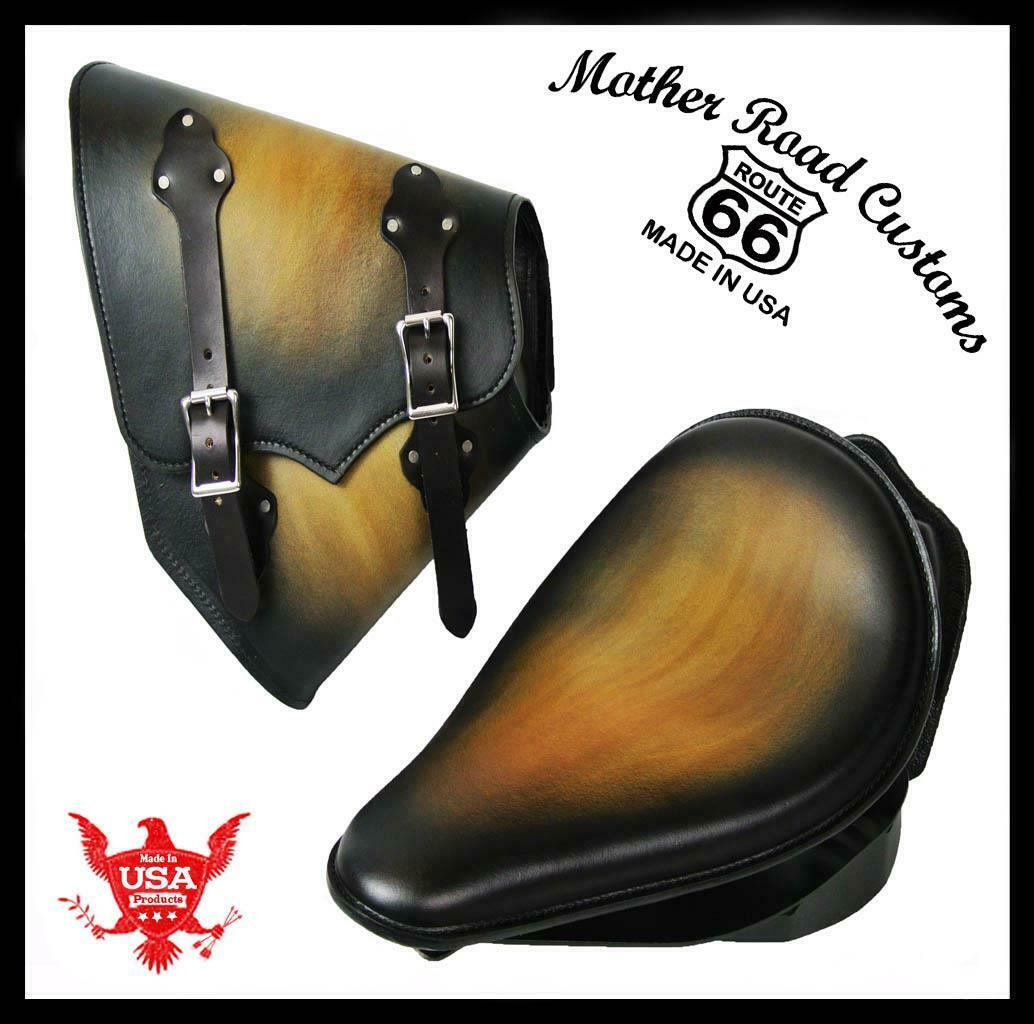 2000-2017 Harley Softail Spring Seat Mounting Kit Saddle Bag Blk Tan Leather b - Mother Road Customs